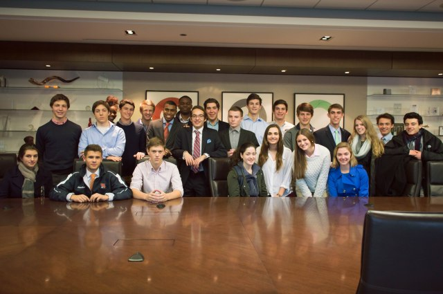 ETHS Investment & Business Club Members at the Pritzker Group Offices